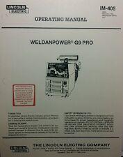 Lincoln Weldanpower G9 PRO 250 Welder Onan Operating, Service & Parts (4 Manuals