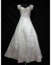 VERA WANG Ivory Satin Off Shoulder Pleated Knot Detail Wedding Dress Sz 10