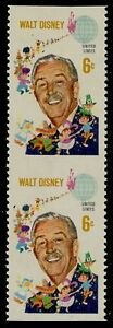 "#1355b 6¢ ""WALT DISNEY"" VERTICAL PAIR, IMPERF OG NH MAJOR ERROR HV5709"