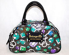 BETSEYVILLE Betsey Johnson Black Jewel Gemstone Print Bowler Satchel Handbag