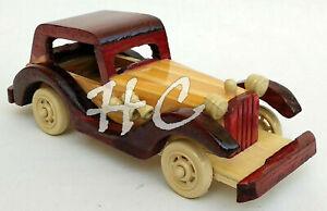 Vintage Old Model Wooden Car~Handmade Antique Gift~Ornament Toy Kid Hobbies