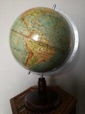 Antico enorme mappamondo in carta, legno e metallo, old german globe