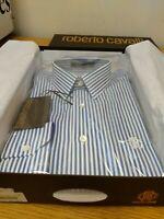 "Roberto Cavalli L/S Blue/ White Striped Slim Fit Shirt 15.75"" Collar Ref HV7"