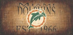"""Miami Dolphins Retro Fins Throwback Established 1966 Wood Sign - NEW 12"""" x 6"""""""
