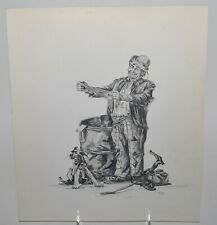 Vintage Original Signed Graphite, Pencil Drawing of a Hobo and his Dog.