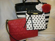 "NWT BETSEY JOHNSON  ""Bag In Bag"" Stripe Large Tote Pouch To Go 3 Piece Set $138"