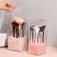 Clear Acrylic Makeup Brush Holder With Lid Dustproof Organizer Storage Case