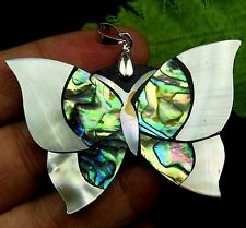 Beautiful unique Abalone shell carved  Butterfly pendant bead fb02185
