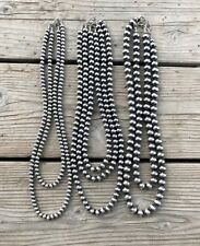 "22"" 6mm Sterling Navajo Pearls Necklace"