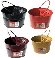 Galvanised Coloured Metal Heavy Duty Mop Bucket With Metal Wringer And Handle