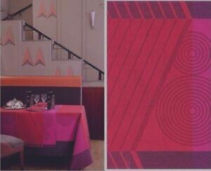 """Le Jacquard Francais Tischdecke """"Gatsby"""" 175 x 250 Halbleinen Laque Red Rot"""