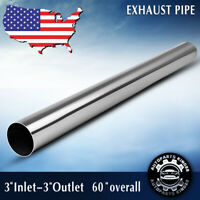 """3'' Inlet 3"""" Outlet Exhaust Pipe 60"""" 5 Feet Length Straight Tube Stainless Steel"""