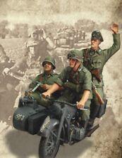 Kit de Figuras 1/35 Escala Sin Pintar Resina Motocicleta Alemana Segunda Guerra Mundial tripulación (3 Figuras)