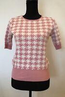 Ladies Knit Top Size 8 South Pink White Pattern <SW5538
