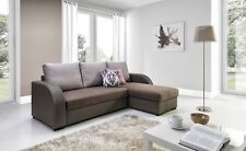 NEW Corner Sofa Bed with Storage, Brown Fabric + brow Leather. Very COMFORTABLE!