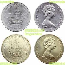 Set 2 coins Isle of man 1 Crown 1979  39mm cu-ni coin AU-UNC