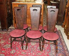 Set of 6 English Antique Walnut Wooden Arts & Crafts Living Room Chairs