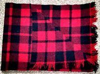 Vintage SuperSprint Stadium Blanket Wool Tartan Plaid Car Throw Fringe Winter
