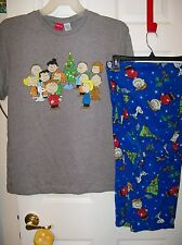 Peanuts Charlie Brown Pajama Pants Lounge PJ 2 Piece Set Mens Size Medium NWT