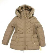 Michael Kors Womens Faux Fur Hooded Short Down Jacket Coat Truffle Size Large