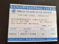 Sammler Used Ticket / Entrada Glasgow Rangers v Celtic Glasgow FC 17-10-1987