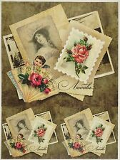 Rice Paper Roses, Ladies Old Cards for Decoupage Scrapbook Craft Sheet