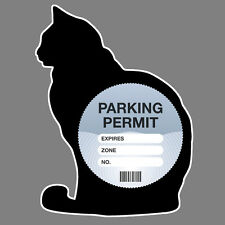 PARKING PERMIT Holder BLACK CAT self-cling window graphic, decor – Freepost