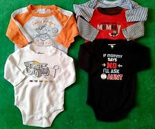 Baby Boy Clothes Long Sleeve One Piece Snap Tee Shirt Size 3-6 Mo Lot of 5