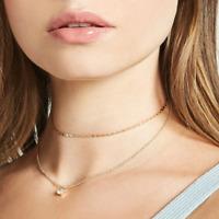 Zirkonia Halskette Kette Gold Layer Doppel Doppelkette Choker Filigran Boho