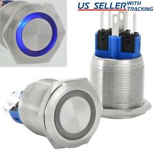 22mm Latching Push Button Power Switch Stainless Steel With Blue Led Waterproof