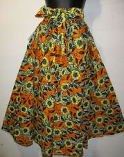 Skirt Fits L XL 1X 2X Plus African Art Wax Cotton Orange Green Head Wrap NWT 32