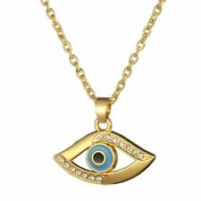 24k Gold Plated Egyptian Evil Eye of Horus Pendant Amulet 45-50cm Chain Necklace