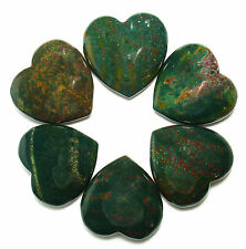 """CARVED - (1) 1.5"""" BLOODSTONE Crystal Heart w/Description & Pouch- Healing Stone"""