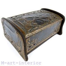 Alfred Daguet style bois-cuivre Coffret pierres Wooden Copper BOX France c 1905