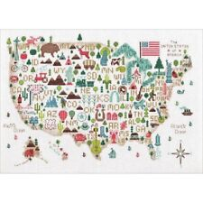 Counted Cross Stitch Kit ILLUSTRATED LIFE USA Map Dimensions New Release!
