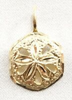 14k Solid Gold Sand Dollar Pendant Ocean Beach Nautical Sea Shell Free Shipping