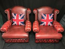 Pair Handmade Oxblood Red Leather Chesterfield Style High Wing Back Armchairs