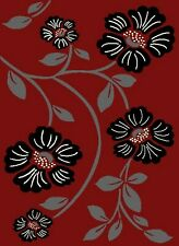 Red Rugs Floral Mat Runner Black Flower Modern Design Soft Smooth Fabric