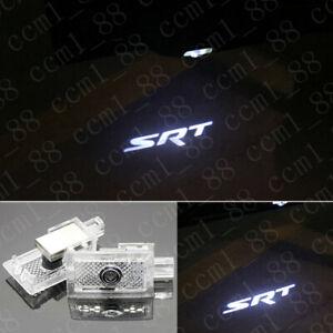2x White SRT Logo LED Door Ghost Projector Puddle Light For Chrysler 300 2005-19