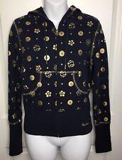 Pepe Jeans London M Hoodie Sweatshirt Jacket Dark Blue Gold Zip up Great