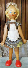 Antique Wooden Peg Doll Blonde Braid German Polish Maid Jointed Costume Dress 7""