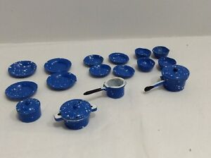 1:12 Dollhouse Miniature Blue Speckled Enamel Pots/Pans/Plates and Cups