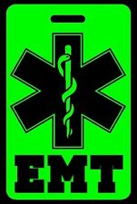 Hi-Viz Green EMT Luggage/Gear Bag Tag - FREE Personalization - New