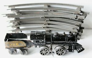 American Flyer A.F. 11 Cast Iron Clockwork Locomotive w/ Key, Tender & Track