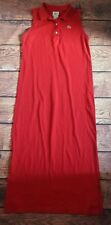 Lacoste Womens Polo Dress Size FR 46 Red Cotton Collared Sleeveless LONG