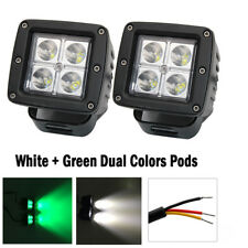 """2x 3"""" Green White Dual Colors LED Work Light Spot Cube Pods Hog Hunting Driving"""