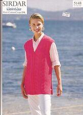 SIRDAR Wash n Wear DK KNITTING PATTERN 5148 Womens Waistcoat / Vest Pattern Only