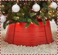 Decorative Red Metal Christmas Tree Collar Skirt Ring Cover Holiday Home Decor