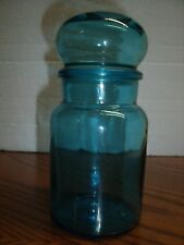 Vintage Aqua Blue glass apothecary jar with bubble lid, made in Belgium