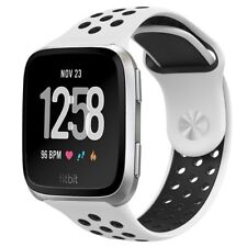 For Fitbit Versa Band Soft Perforated Sport Strap Adjustable Size Holes White